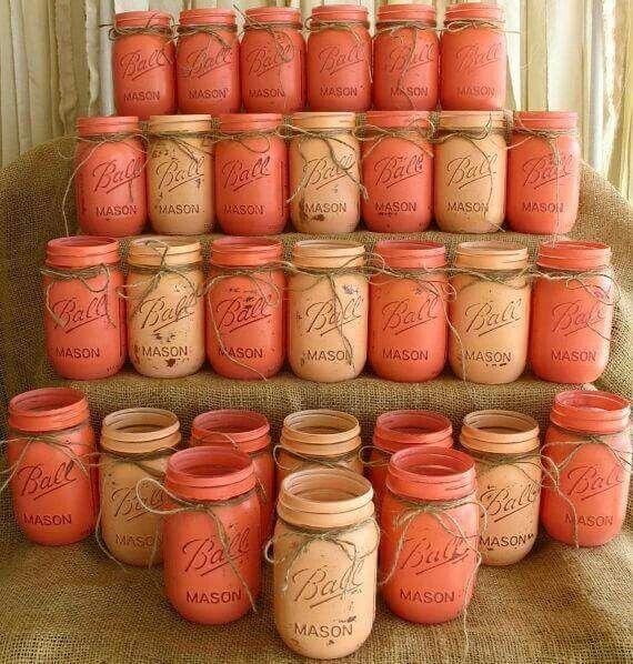 30 Mason Jars, Ball Jars, Painted Mason Jars Favors For Rustic Wedding