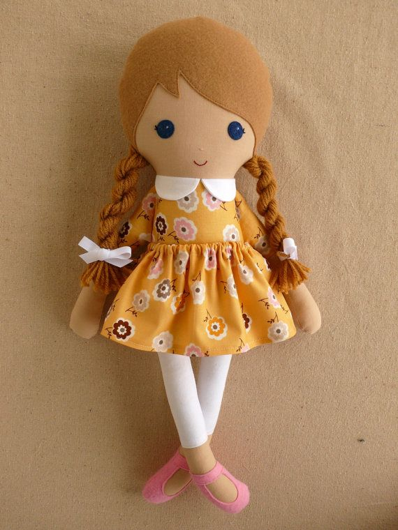 Fabric Doll Rag Doll Light Brown Haired Girl with Yellow Floral Dress and White Leggings