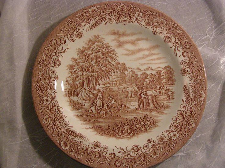 Currier & Ives Rare HARVEST Brown Dinner Plate Heritage Mint LTD