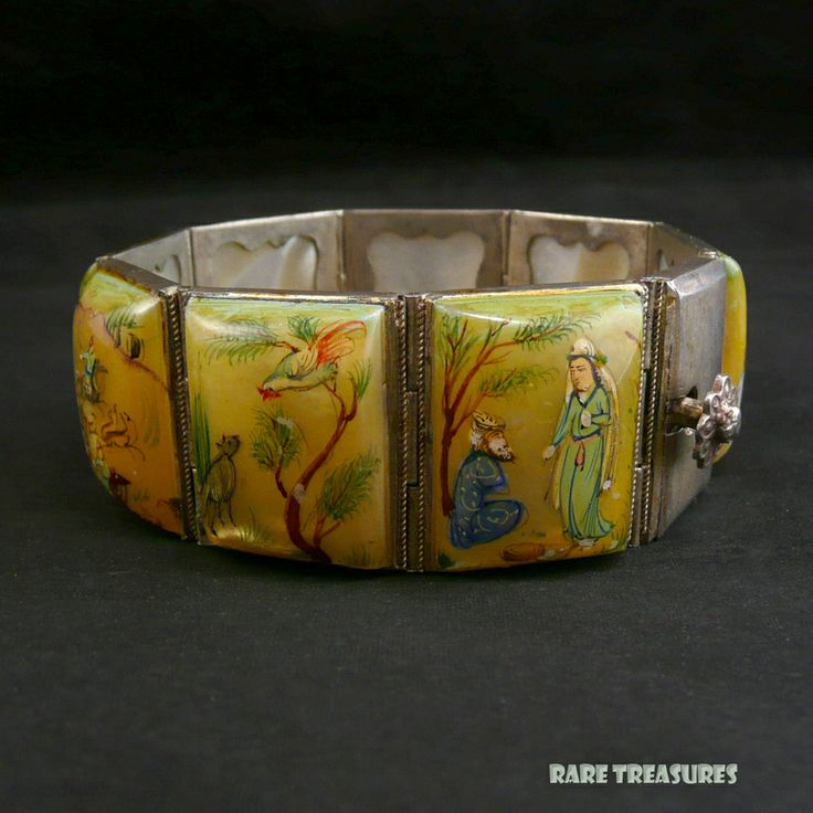 Hand Painted Mother of Pearl Persian Story Bracelet #vintage