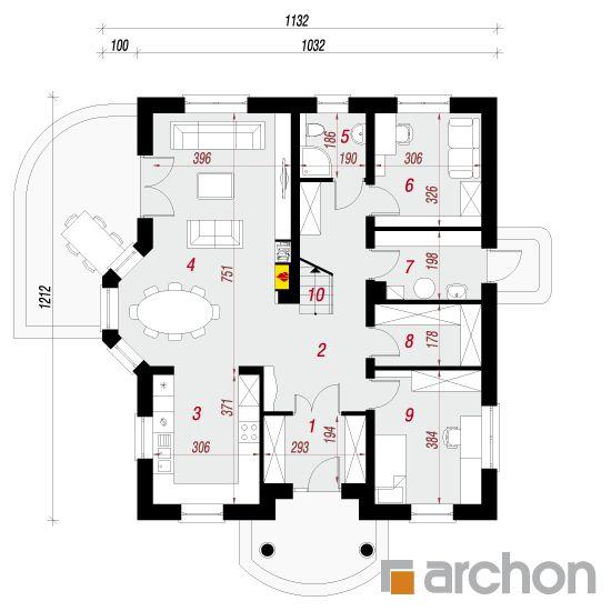 projekt Dom w tymianku 9 rzut parteru
