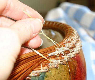 TUTORIAL Vickie Henderson Art: Coiled Pine Needle Rim on Gourd -- Coiling Tutorial