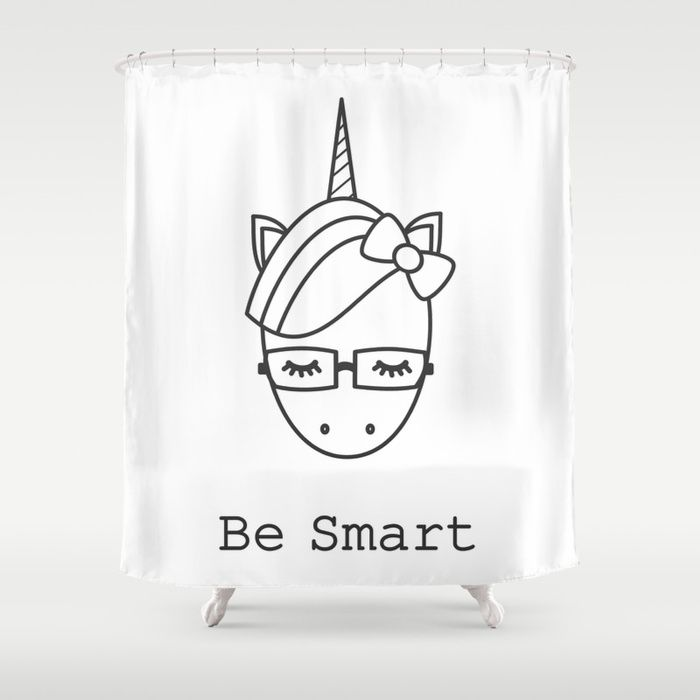 Shower Curtain With Be Smart Motivational Slogan With Cute Cartoon
