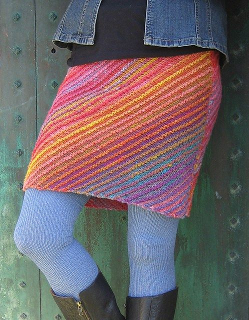 Free knitting pattern for Lanesplitter Skirt - Tina Whitmore's skirt is knit on the bias which creates the interesting diagonal pattern as well as keeps the edges from curling. Sizes XS [S, M, L, 1X, 2X, 3X, 4X] Great with multi-color yarn!