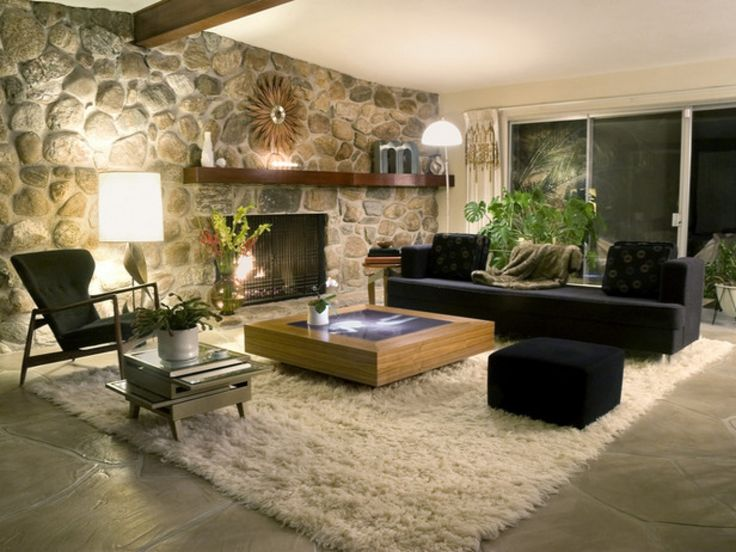 Decoration Rustic Modern Home Decorating Idea With Natural Rock Accent Wall Also Potted Indoor Plant Feat Black Sofa Design And Fur Area Rug Various Home
