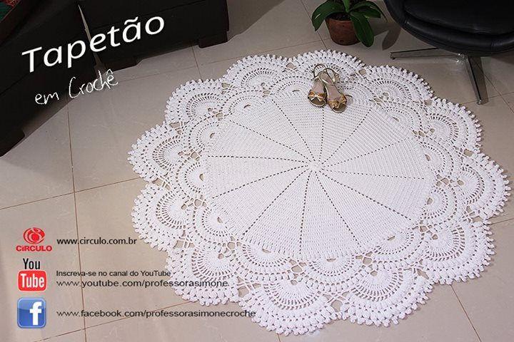 Tapetão de Crochê Redondo  https://youtu.be/PDzo4fLPGAU #crochet #professorasimone #semprecirculo #barrocoMaxColor