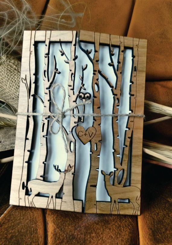 deer wedding invitation 30/ wood wedding by AmazingWoodCraft