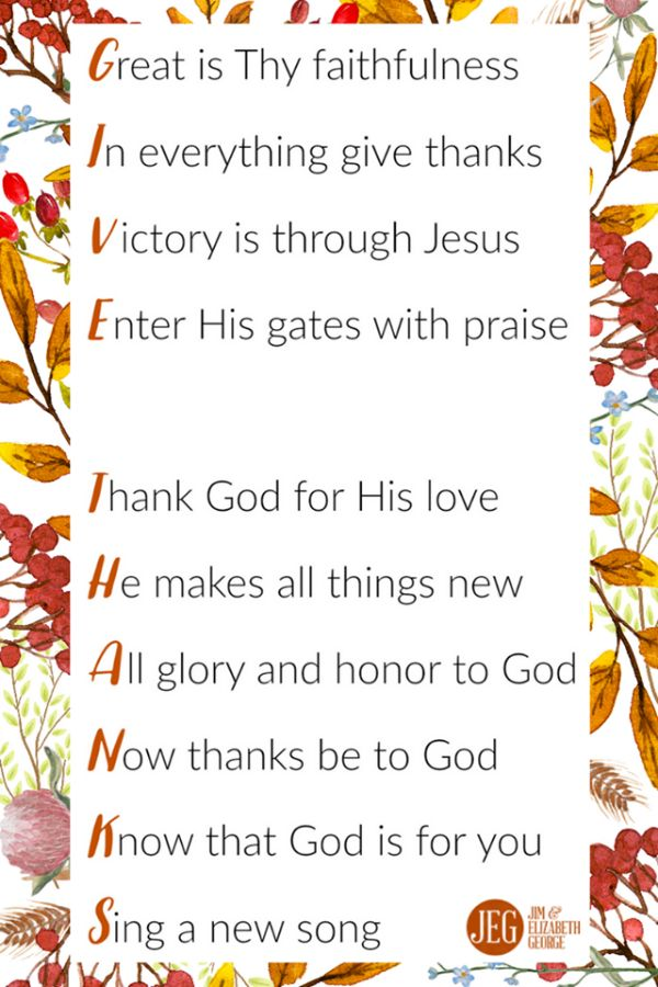 """Place a copy of this print around your Thanksgiving table next week to start a conversation with your husband: """"What are you thankful for this year?""""   As Christians, we have so many reasons to GIVE THANKS to God!"""