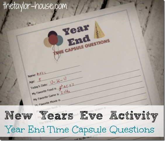 New Years Eve Activity: Time Capsule Questions