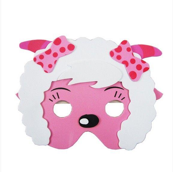 KIDS JUNGLE ANIMAL MASK FOAM EVA FANCY DRESS PINNATA LOOT PARTY BAG FILLERS TOYS bow SHEEP