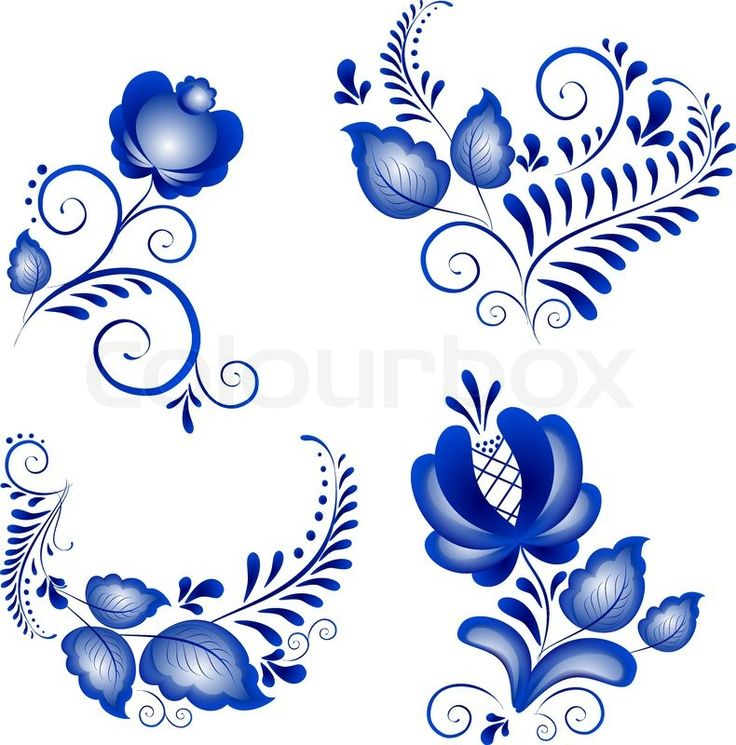Stock vector of 'Russian ornaments in gzhel style.  Gzhel (a brand of Russian ceramics, painted with blue on white)'