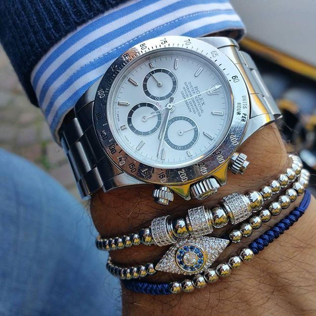 Rolex layered with our white gold Macrame Bracelets. #zenger#rolex#bracelets
