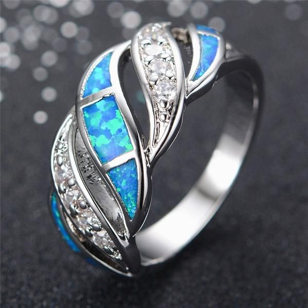 Blue Sapphire Crystal Opal Ring   AtPerrys Healing Crystals   1