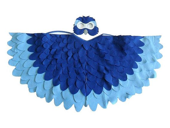 Children Bird Costume Blue Macaw Arara Parrot Wings por BHBKidstyle
