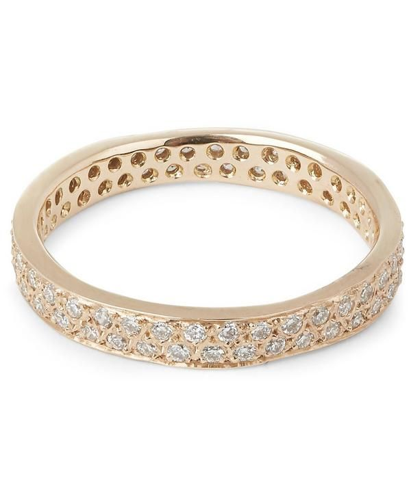 Gold Double Row White Diamond Ring