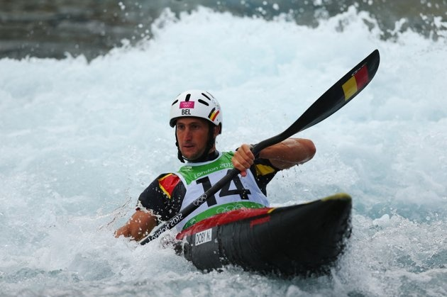 Olympics: Day Two - JULY 29: Mathieu Doby of Belgium competes during the Men's Kayak (K1) Canoe Slalom heats on Day 2 of the London 2012 Olympic Games at Lee Valley White Water Centre on July 29, 2012 in London, England. (Photo by Phil Walter/Getty Images)