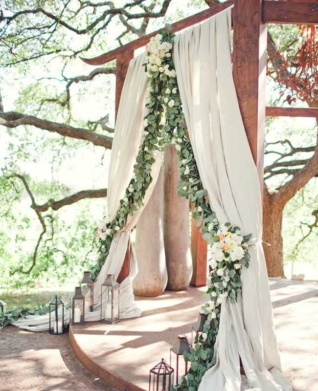 burlap and garland love love love this!!! Could use magnolia leaves!