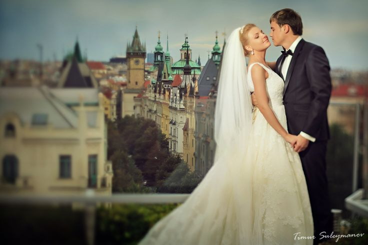 Wedding ceremony on the terrace with panoramic view. Imagine your ceremony on the 9th floor overlooking the Old Town with the magic Prague Castle and Letna Park as a background  Find out more http://www.icprague.com/