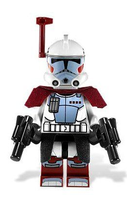 Clone Trooper (Elite) with - LEGO Star Wars Clone Wars Minifigure by LEGO. $6.99. Real Cloth shoulder guards and skirt. Rangefinder. Two Hand Blasters. ARC Trooper loose Lego Minifigure