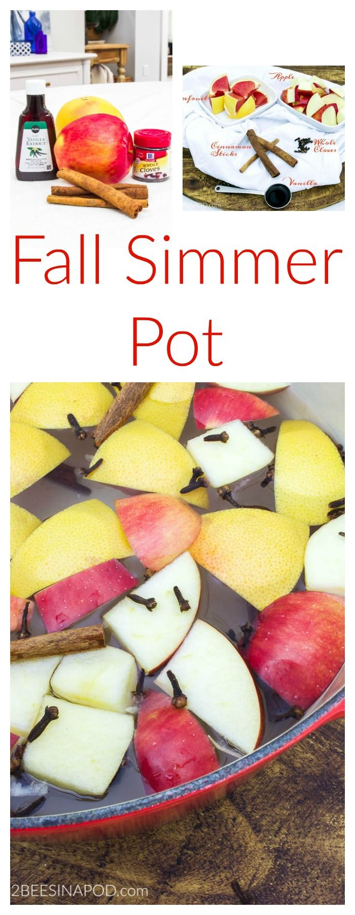 Fragrant Fall Simmer Pot. Make the entire house smell fabulous for fall with scents of spice, apples, citrus and vanilla with this easy simmer pot. Stove top simmer pot for fall or winter.