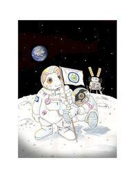 """PIENI LOIKKA KANILLE - SMALL JUMP FOR A BUNNY """"The guys who walk on Mars are going to be historic."""" Buzz Aldrin, toisena kuun pinnalle astunut ihminen. Ennusteesi kuultu Buzz. Nämä kanitukset aikovat todellakin ottaa sen harppauksen, loikan ja tassun matkan. Muistutuksena jokaiselle pupuselle, että mahdollisuuksia on maailmankaikkeus täynnä. PUPUPU DESIGN HELSINKI (2014)"""