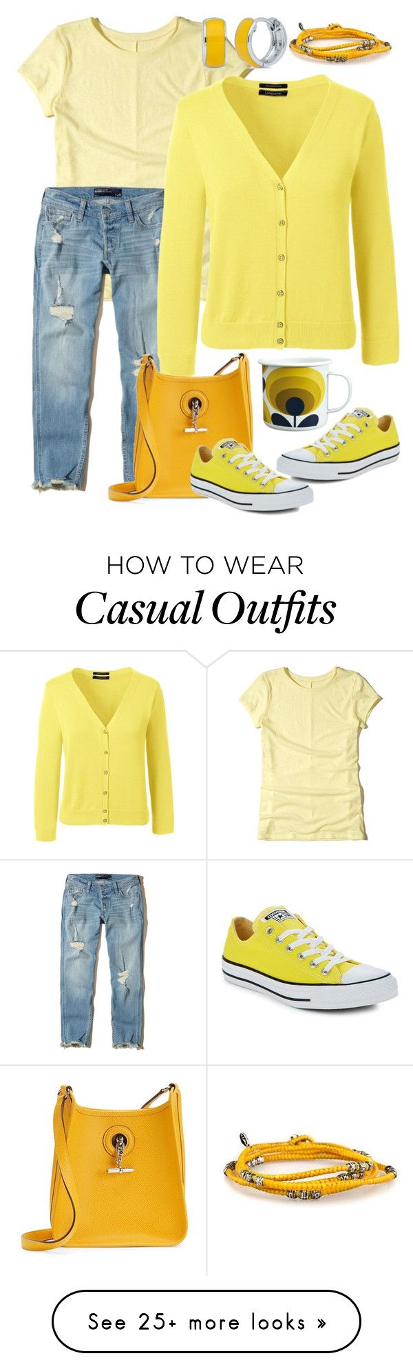 """""""Coffee Casual"""" by naviaux on Polyvore featuring Hollister Co., Lands' End, Hermès, Converse, Orla Kiely and BERRICLE"""
