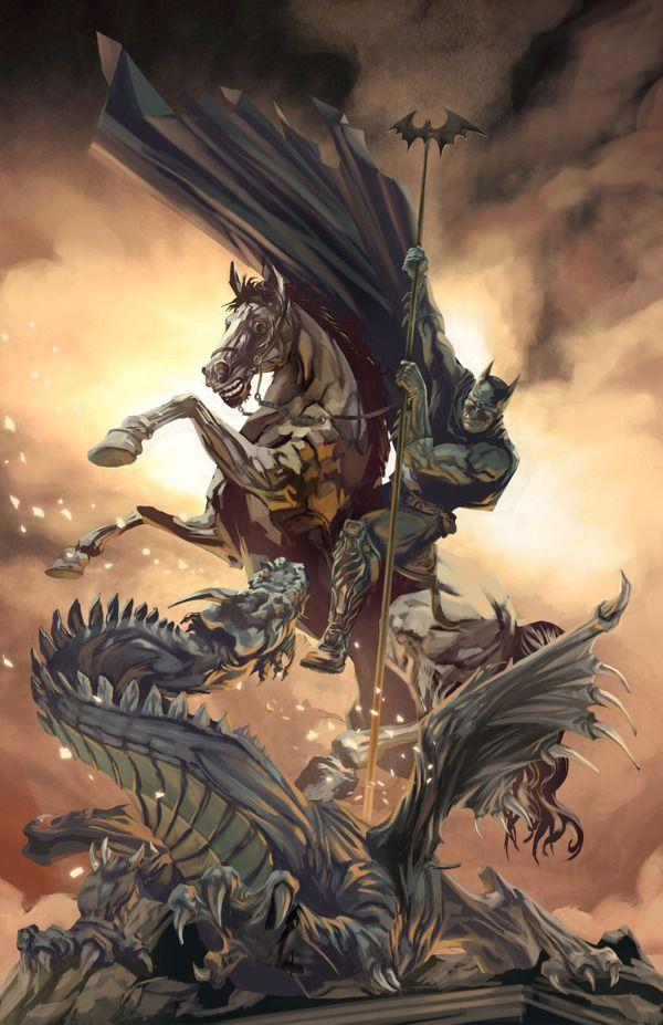 Na série Allegorical Superheroes, José Quintero coloca super-heróis mergulhados em cenas filosóficas ou mitológicas.