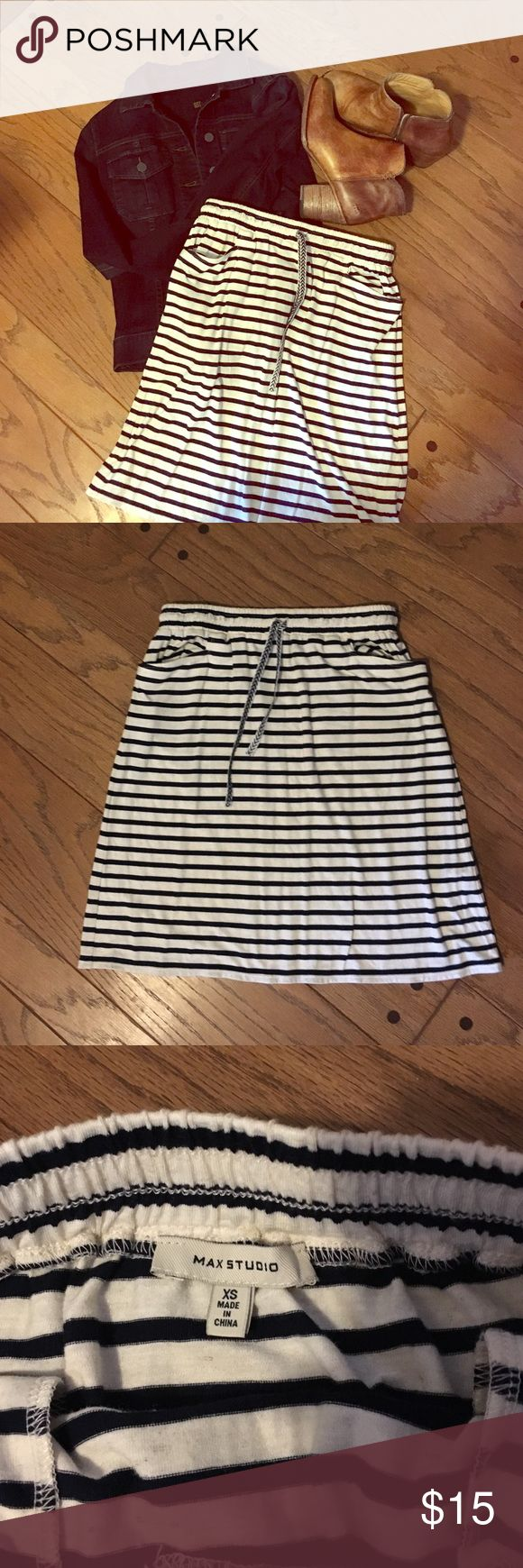 Comfy Max Studio navy striped skirt This is the comfiest skirt. Striped with navy and cream. Size XS, Max Studio. Elastic waistband so it would also fit a small. Max Studio Skirts Mini