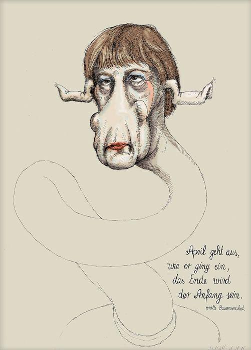 Angela Merkel - Spaß-Kanzlerin - Bild von Martin Mißfeldt http://www.martin-missfeldt.de/kunst-bilder/politik-philosophie/merkel-spass-kanzlerin.php