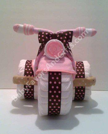 Unique Diaper Cakes-Centerpieces-Baby Shower gift ideas: Tricycle Diaper Cake, Centerpiece, Unique Baby Shower gift ideas