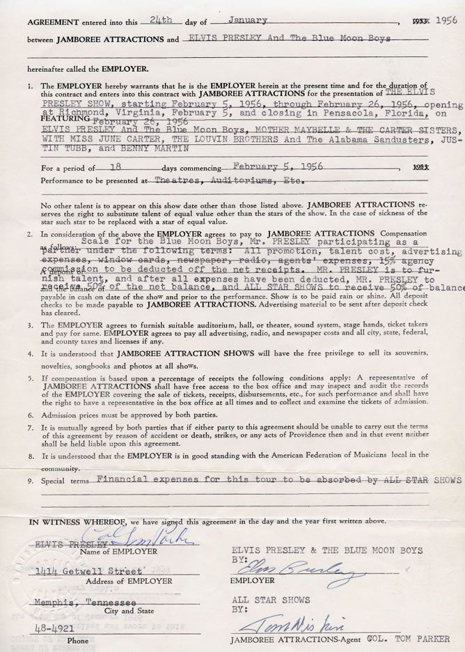 1956 Business Contract Signed by Colonel Parker and Elvis for The ... - business contracts