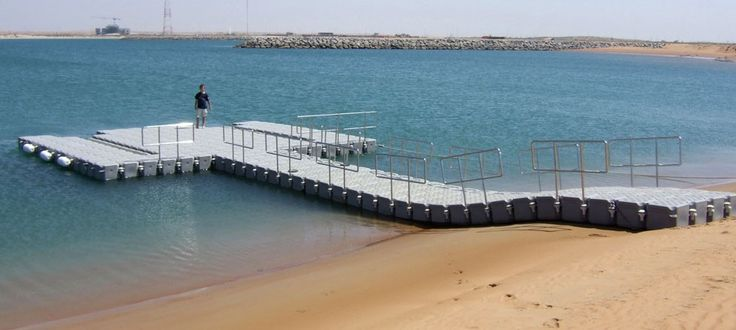 A pontoon as a temporary jetty for boat access to the beach