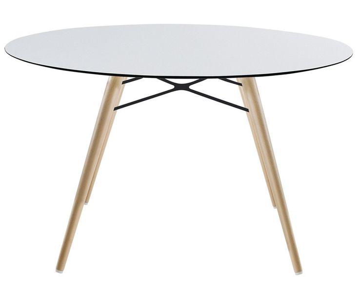 Rundt haslev spisebord symphony 20 ø105cm med udtræk laminat top ...