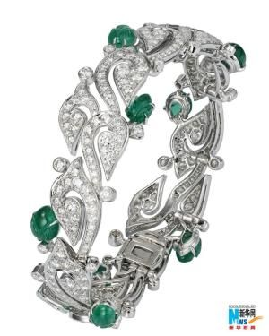 Cartier, Carved Emerald and Diamond Bracelet