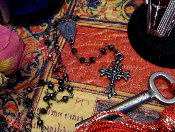 Black Gothic Rosary Necklace Sterling Rosary by PowersThatBead
