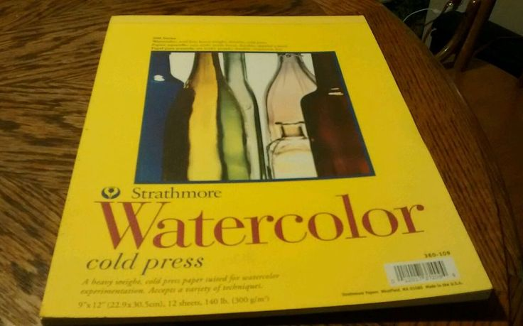"""Strathmore Watercolor Cold Press Paper 9"""" X 12"""" 140 lbs. 12 Sheets New"""