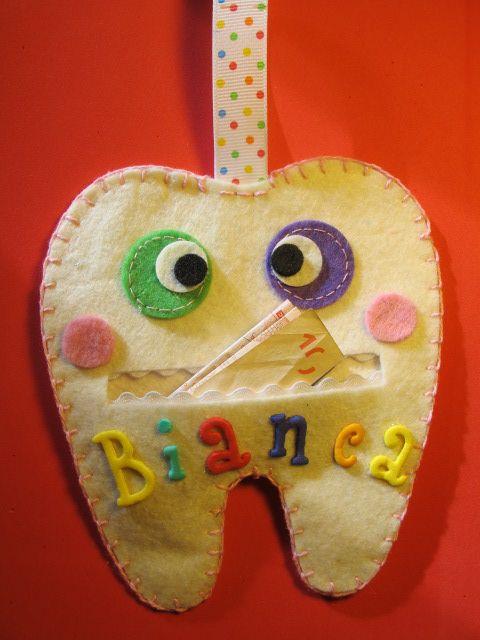Tasca porta dentino/soldi da appendere alla maniglia della porta per la fatina dei denti. Tooth hold pocket for tooth fairy