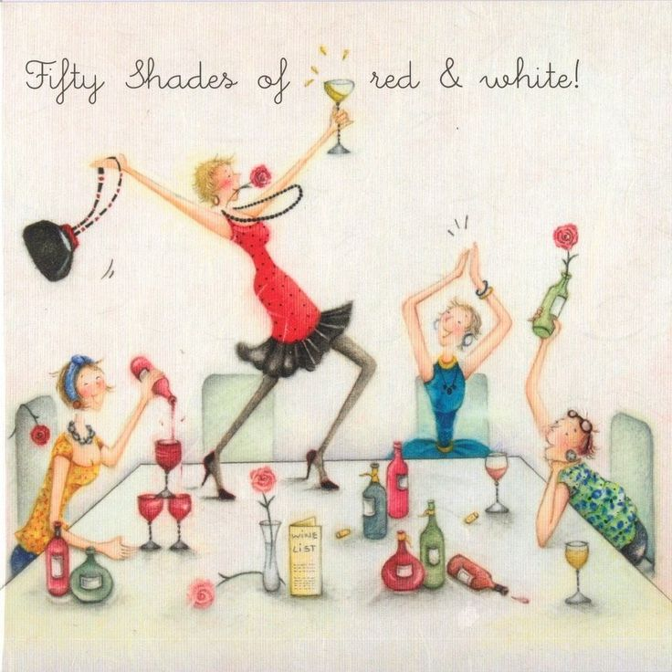 Fifty Shades Of Red and White Wine Female Birthday Card Ladies Who Love Life