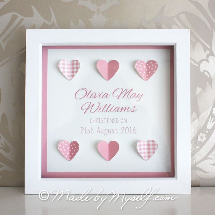Christening Gift. New Baby Gift. Baptism Gift. A pretty heart design personalised with the childs name and christening date is mounted in a white box frame The wording can change to say Born on, Baptised on or custom to what you require