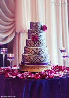 Purple and gold, what a stunning combination. Decorated with damask pattern. ****I would change to Navy blue and gold