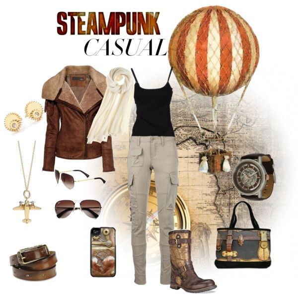Steampunk Casual by akayhu on Polyvore featuring D&G, Ralph Lauren Blue Label, UGG Collection, Clarice Price Thomas, Calypso St. Barth, Diesel, Ray-Ban and Kenneth Cole