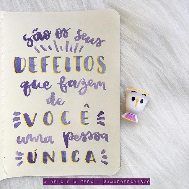 Frase do filme A Bela e a Fera para o coletivo de lettering @tudoletra! #tudoletra #coletivo #abelaeafera #amorderabisco #defeitos #pessoa #unica #art