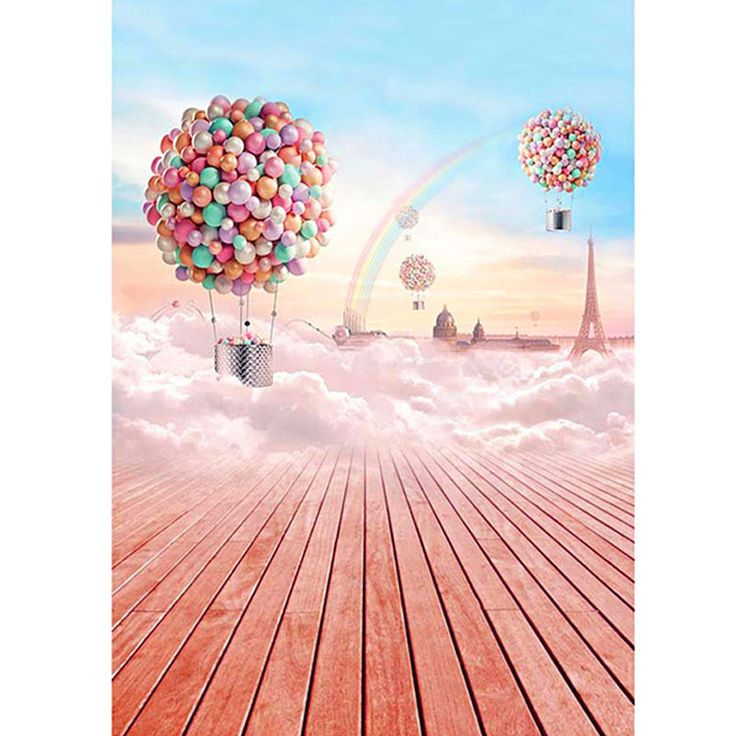 Wooden Floor Eiffel Tower Balloon Photography Background Photography Backdrops #UnbrandedGeneric