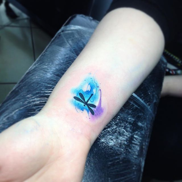 Lib AB #tattoo #tatuaje #libelula #watercolor #celeste #insects #insecto #ab #aquarelle