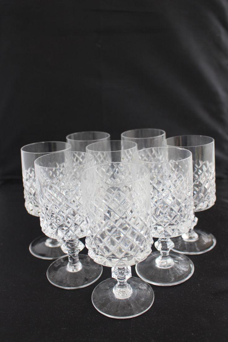 Bicchieri di cristallo da acqua, 8 bicchieri vintage, anni 50s, con taglio a diamante di patrizianave su Etsy