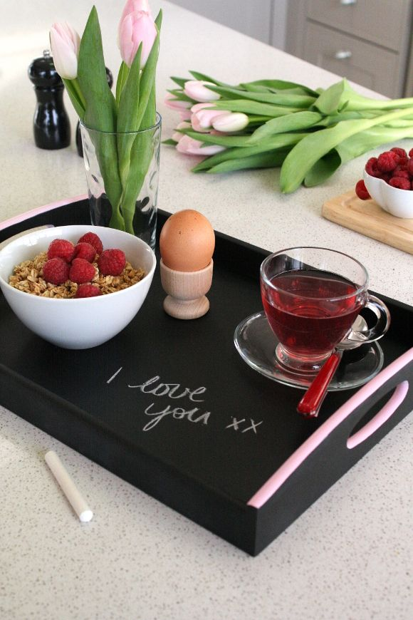 DIY your own Valentine's Day chalkboard tray.
