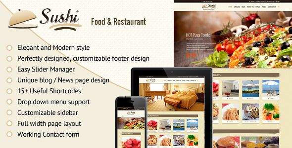 Sushi – Fully Responsive shopify theme suitable to promote Restaurant, hotel and food deals, restaurant packages, food combos, fashion/trendy products. Give face-lift to your eCommerce store with Sushi that works great on mobile devices, tablets and computers. Easy customization, unique design with lot of great back-end features such as Logo upload, Heading bg, body bg, slider management, widgets, mail-chimp integration and social sharing etc.