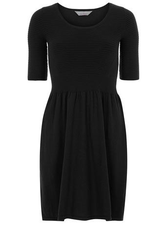 Petite black knitted dress