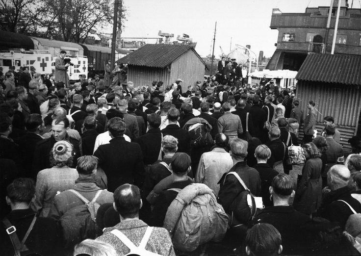 Bernadotte-aktionen. Svenske Røde Kors busser ankommer til Københavns Frihavn i april 1945. Befriede fanger fra tyske koncentrationslejre står klar til at sejle til Sverige  Tidsperiode og årstal Datering:apr-45 - See more at: http://samlinger.natmus.dk/FHM/14549#sthash.ElCp893P.dpuf