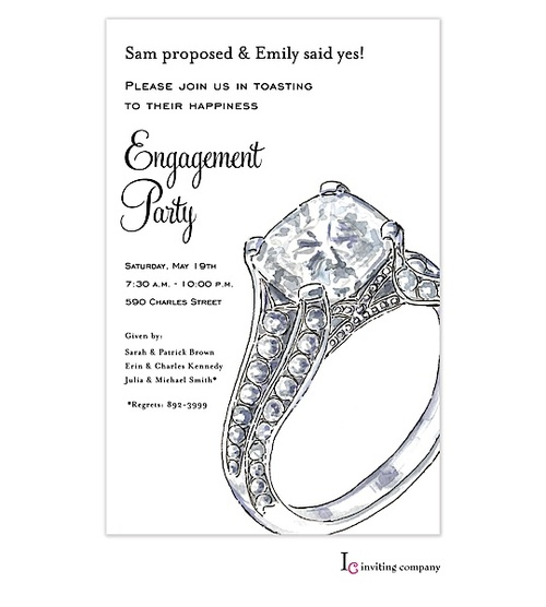 Big Sparkle Engagement Party Invitations